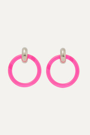Balenciaga Silver-tone and neon resin earrings