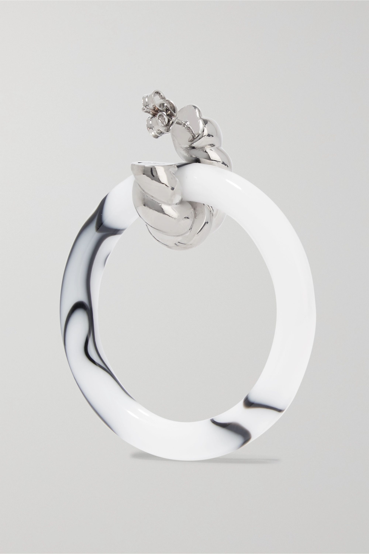 Balenciaga Palladium-tone and resin hoop earrings