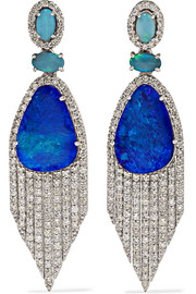 Amrapali 18-karat white gold, diamond and opal earrings