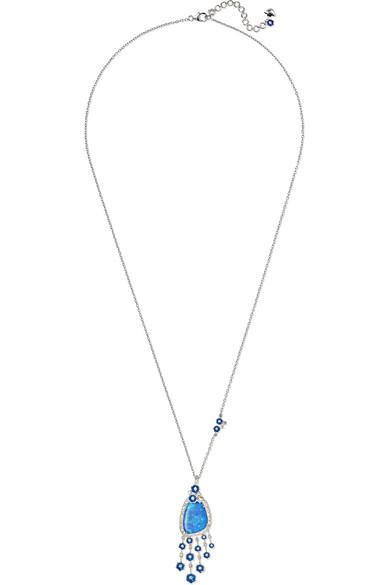 AMRAPALI 18-Karat White Gold, Diamond And Opal Necklace