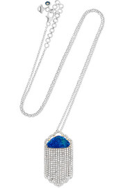18-karat white gold, diamond and opal necklace