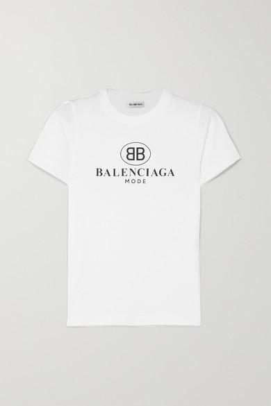 BALENCIAGA | Balenciaga - Logo-print Cotton-jersey T-shirt - White | Goxip