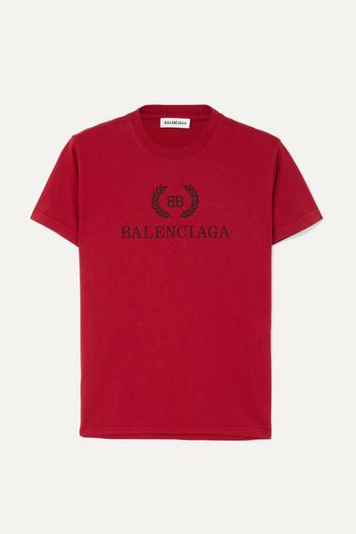 BALENCIAGA | Balenciaga - Printed Cotton-jersey T-shirt - Red | Goxip
