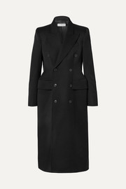 Hourglass double-breasted wool-blend gabardine coat