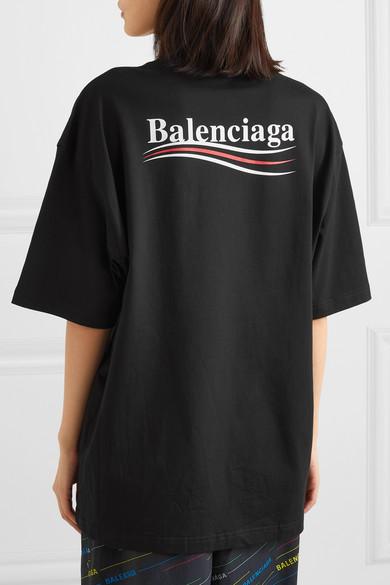Balenciaga Shirts Oversized printed cotton-jersey T-shirt