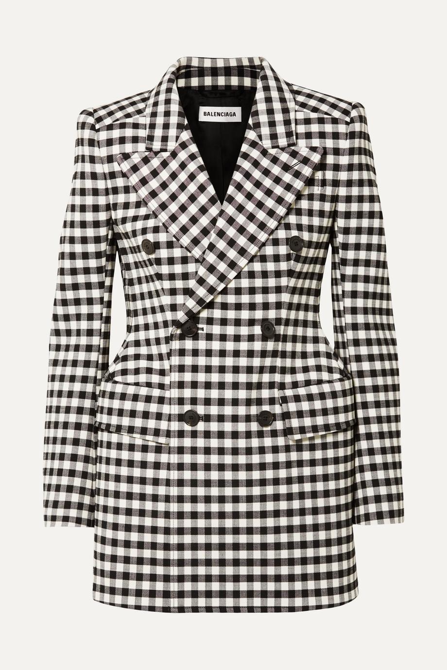Exact Product: Hourglass gingham woven blazer, Brand: Balenciaga, Available on: net-a-porter.com, Price: $2990