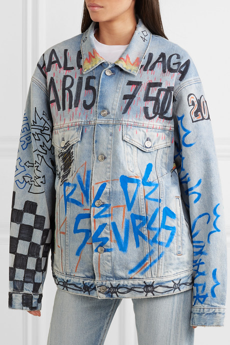 Oversized printed denim jacket
