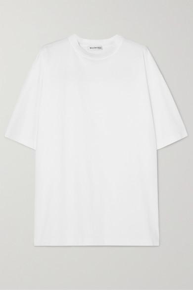 BALENCIAGA | Balenciaga - Oversized Embroidered Cotton-jersey T-shirt - White | Goxip