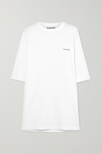 BALENCIAGA | Balenciaga - Oversized Printed Cotton-jersey T-shirt - White | Goxip