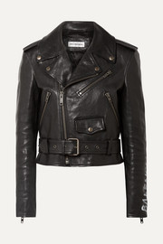 Balenciaga Printed textured-leather biker jacket