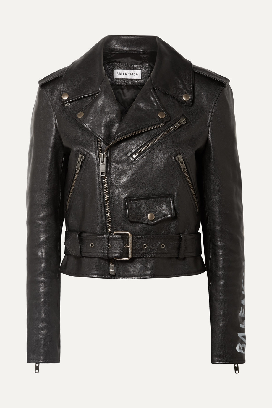 Exact Product: Printed Textured-leather Biker Jacket, Brand: Balenciaga, Available on: net-a-porter.com, Price: $3900