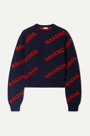 Balenciaga Cropped intarsia wool-blend sweater
