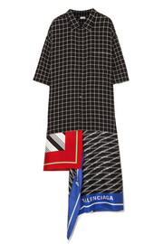 Balenciaga Asymmetric patchwork checked poplin and silk-twill dress