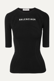 Balenciaga Printed textured stretch-jersey top