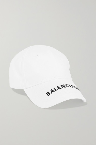 Embroidered Cotton-Twill Baseball Cap in White
