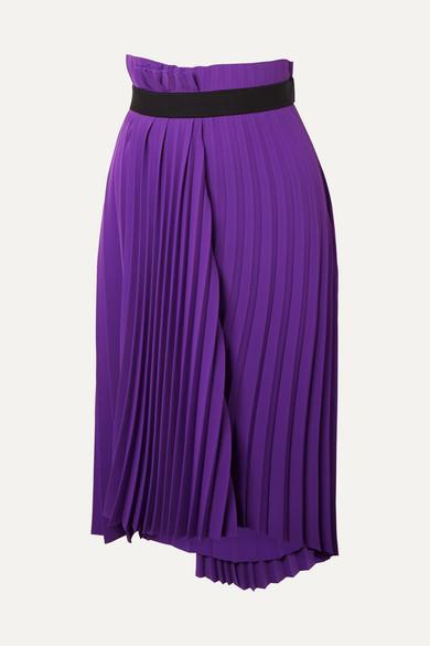 Fancy Asymmetrical Pleated Crepe Skirt in Purple