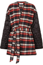 Balenciaga Leather-trimmed checked cotton-flannel and quilted satin coat