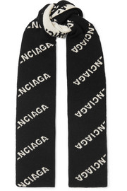 Balenciaga Intarsia wool and camel hair-blend scarf