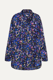 Balenciaga Bow-detailed printed silk-jacquard blouse