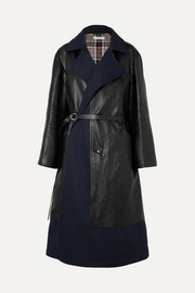 Balenciaga Paneled leather and cotton-blend gabardine coat