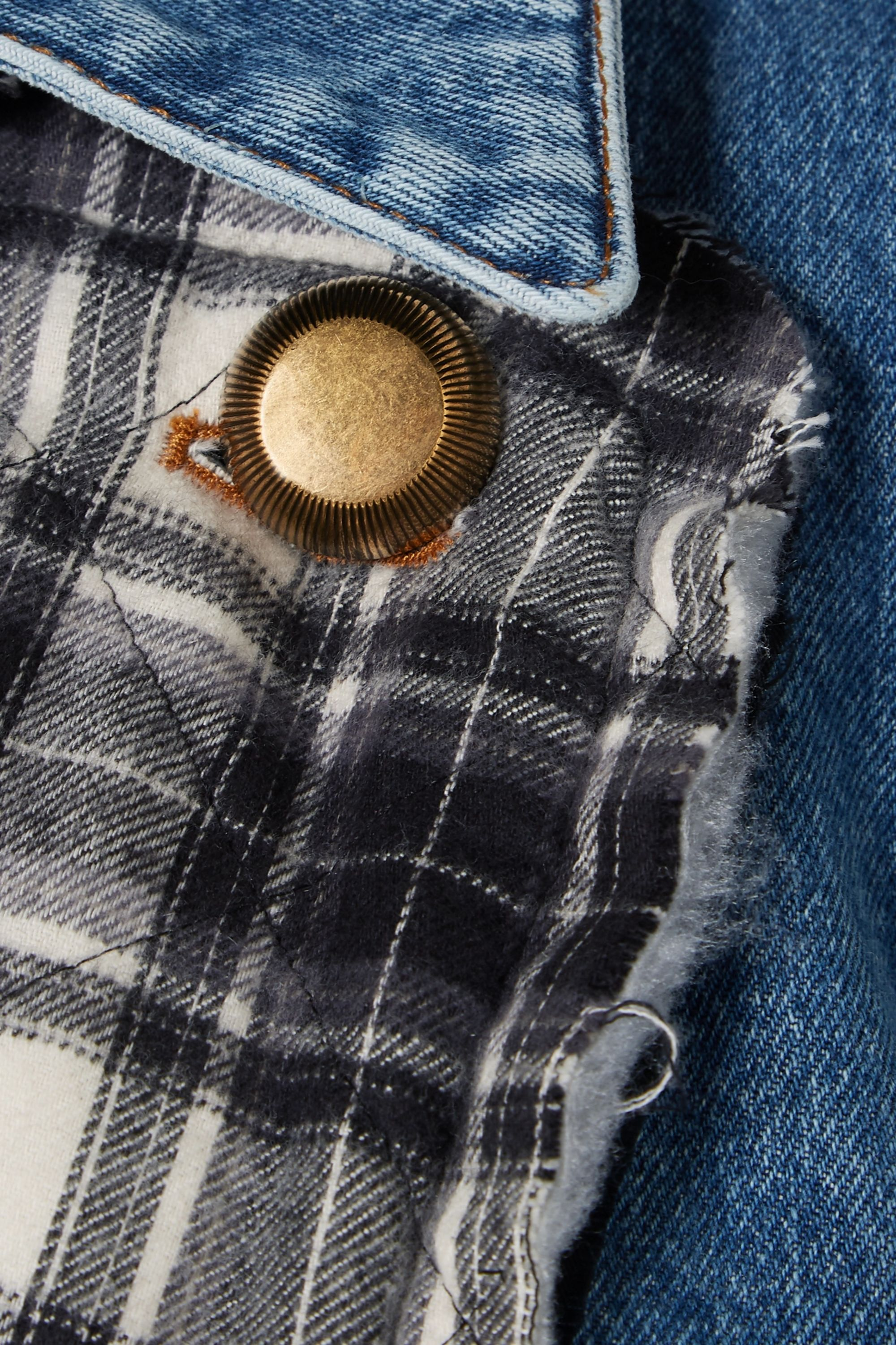 Balenciaga Belted denim and quilted checked flannel coat