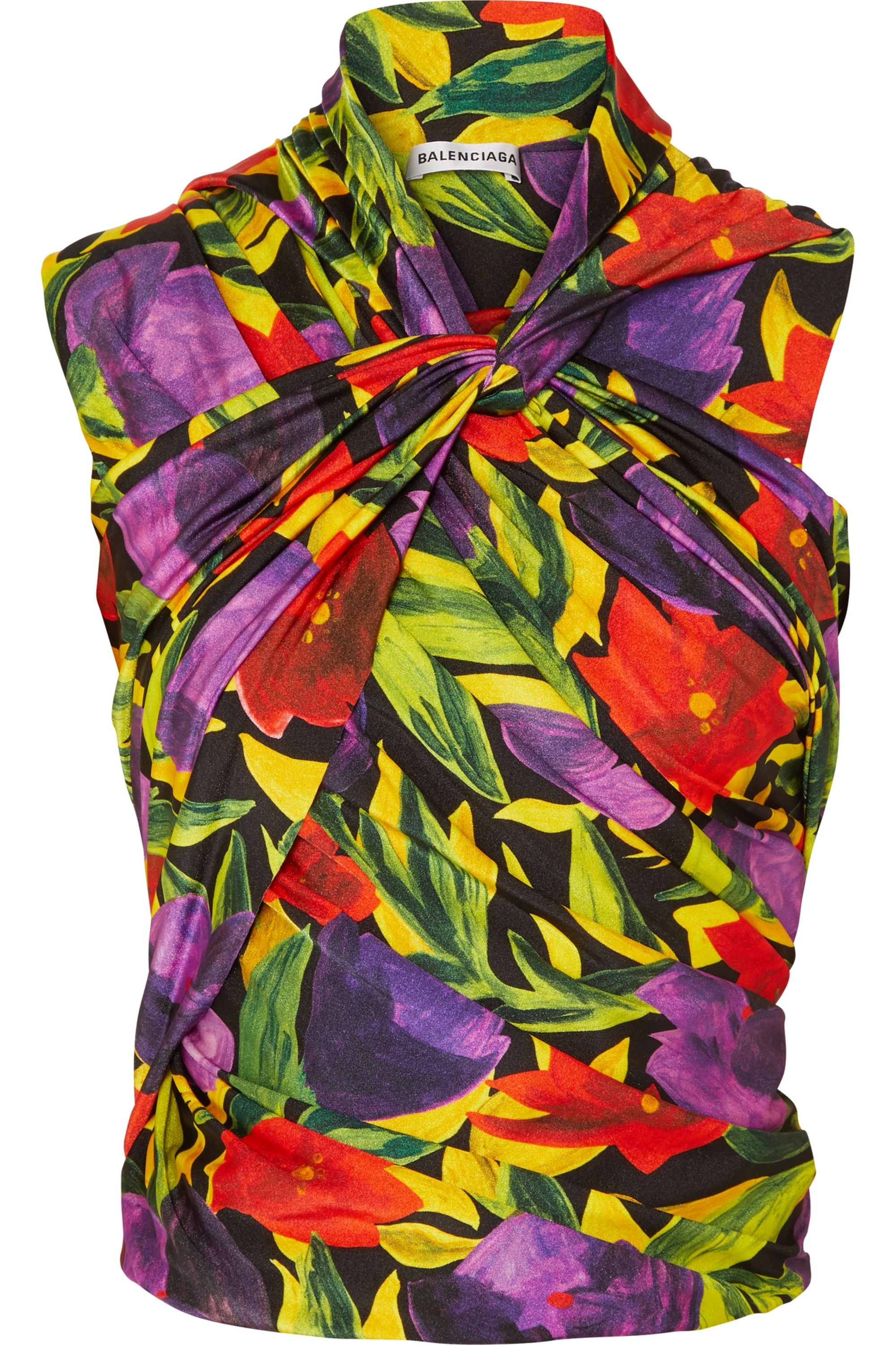 Balenciaga Ruched twist-front floral-print stretch-jersey top