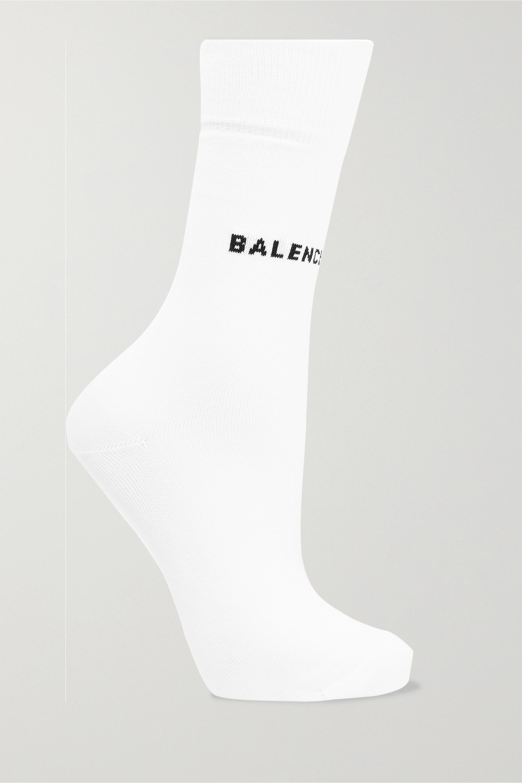 White Intarsia cotton-blend socks