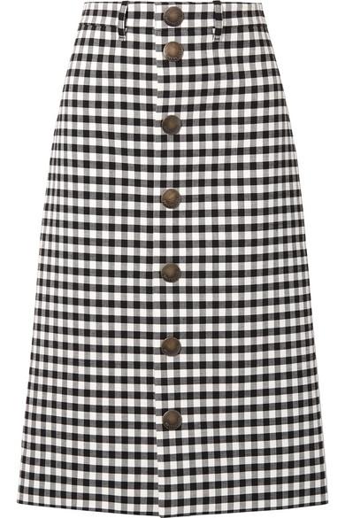 Gingham Woven Midi Skirt in Black