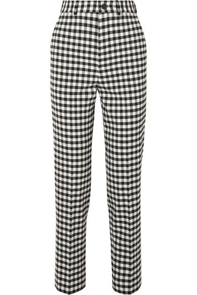 BALENCIAGA | Balenciaga - Checked Woven Straight-leg Pants - Black | Goxip