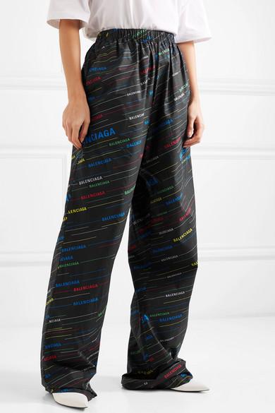 Balenciaga Pants Printed cotton-poplin wide-leg pants