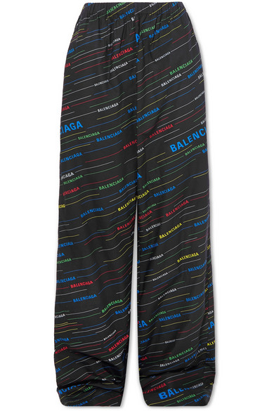 BALENCIAGA | Balenciaga - Printed Cotton-poplin Wide-leg Pants - Black | Goxip
