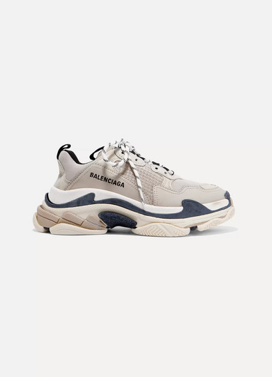Triple S Logo-Embroidered Leather, Nubuck And Mesh Sneakers in Neutrals