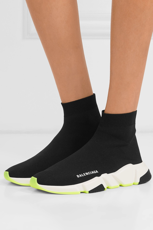 Black Speed stretch-knit high-top
