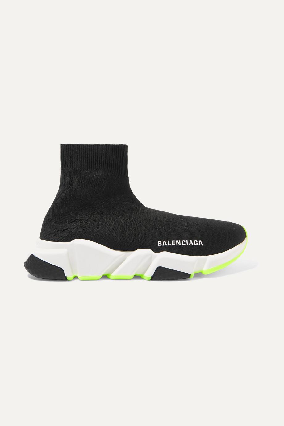 발렌시아가 스피드러너 스니커즈 - 블랙네온그린솔 Balenciaga Speed stretch-knit high-top sneakers,Black