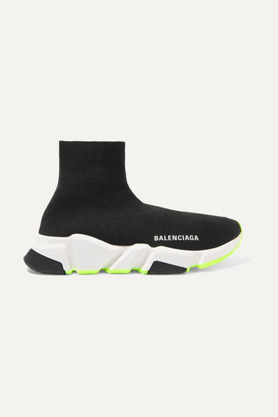 Speed Stretch-Knit High-Top Sneakers in Black/ Neon
