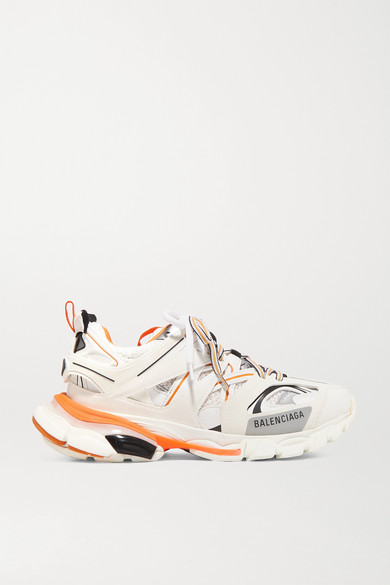 Balenciaga Track Logo-detailed Leather, Mesh And Rubber Sneakers In 9059 Blanc/ Orange