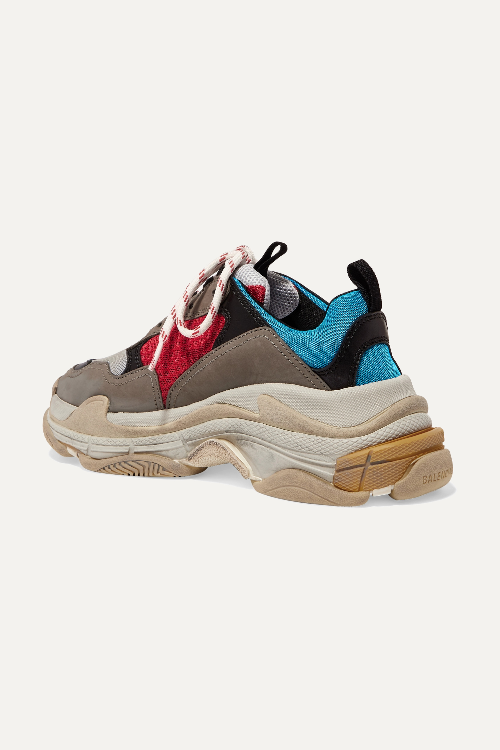 Balenciaga Triple S logo-embroidered leather, nubuck and mesh sneakers