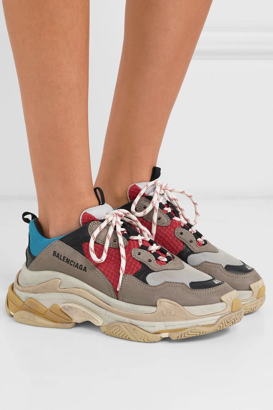 Balenciaga Triple S 标志刺绣皮革牛巴革网眼运动鞋