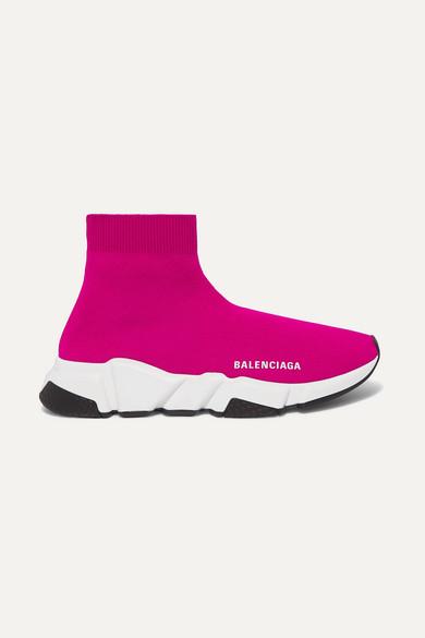 BALENCIAGA | Balenciaga - Speed Stretch-Knit High-Top Sneakers - Pink | Goxip