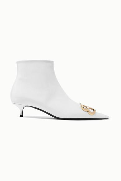 BALENCIAGA | Balenciaga - Knife Logo-embellished Patent-leather Ankle Boots - White | Goxip