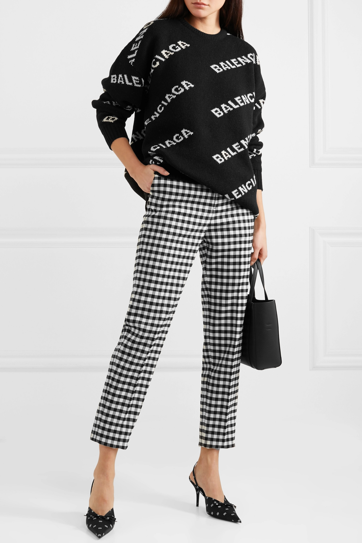 Balenciaga Knife Slingback-Pumps aus Satin und Leder mit Logoprint