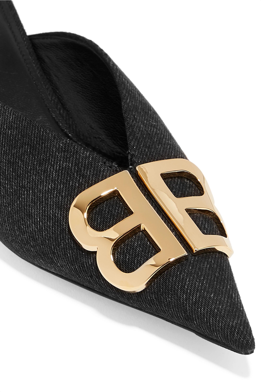 Balenciaga Knife logo-embellished denim mules