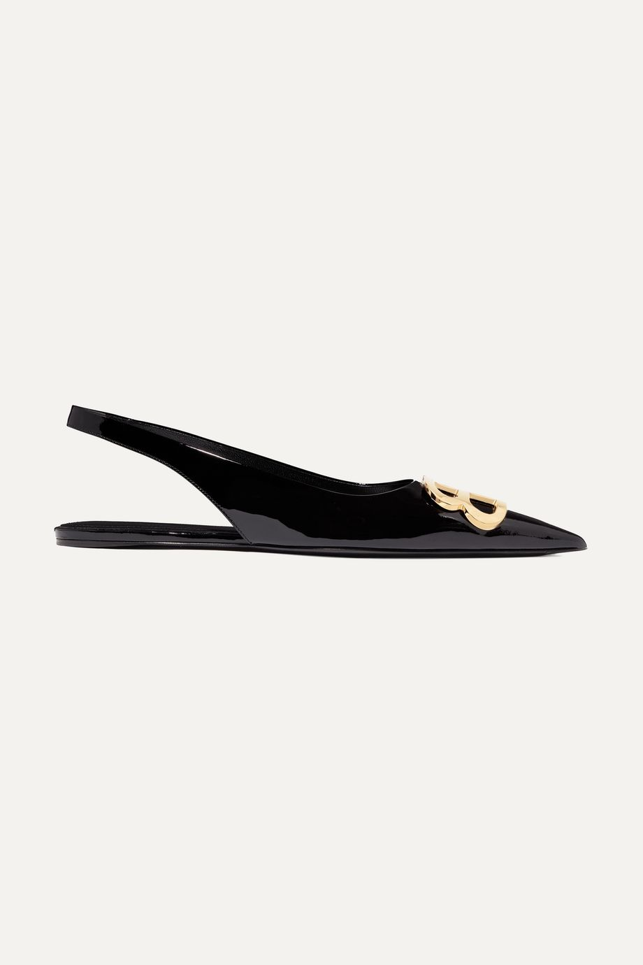 Balenciaga Knife logo-embellished patent-leather point-toe flats
