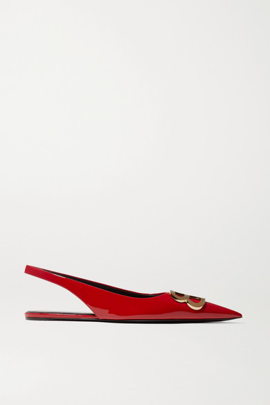 Knife Logo-Embellished Patent-Leather Point-Toe Flats in Red