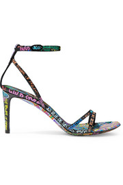 Balenciaga Graffiti printed textured-leather sandals
