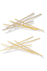 Set of two Sara gold-plated Swarovski crystal hair slides