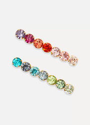 Set of two gold-plated Swarovski crystal hair slides