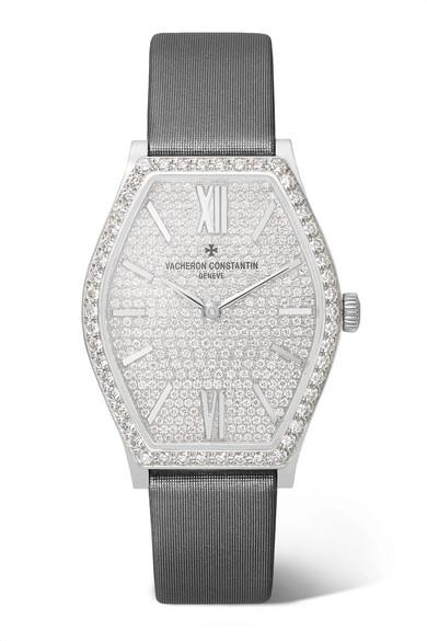 VACHERON CONSTANTIN Malte 28.4Mm Small 18-Karat White Gold, Satin And Diamond Watch