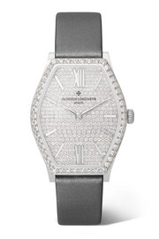 Malte 28.4mm small 18-karat white gold, satin and diamond watch