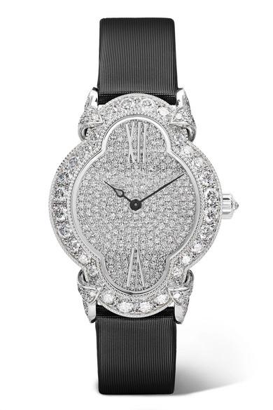 VACHERON CONSTANTIN Heures Créatives 26.5Mm 18-Karat White Gold, Satin, Alligator And Diamond Watch